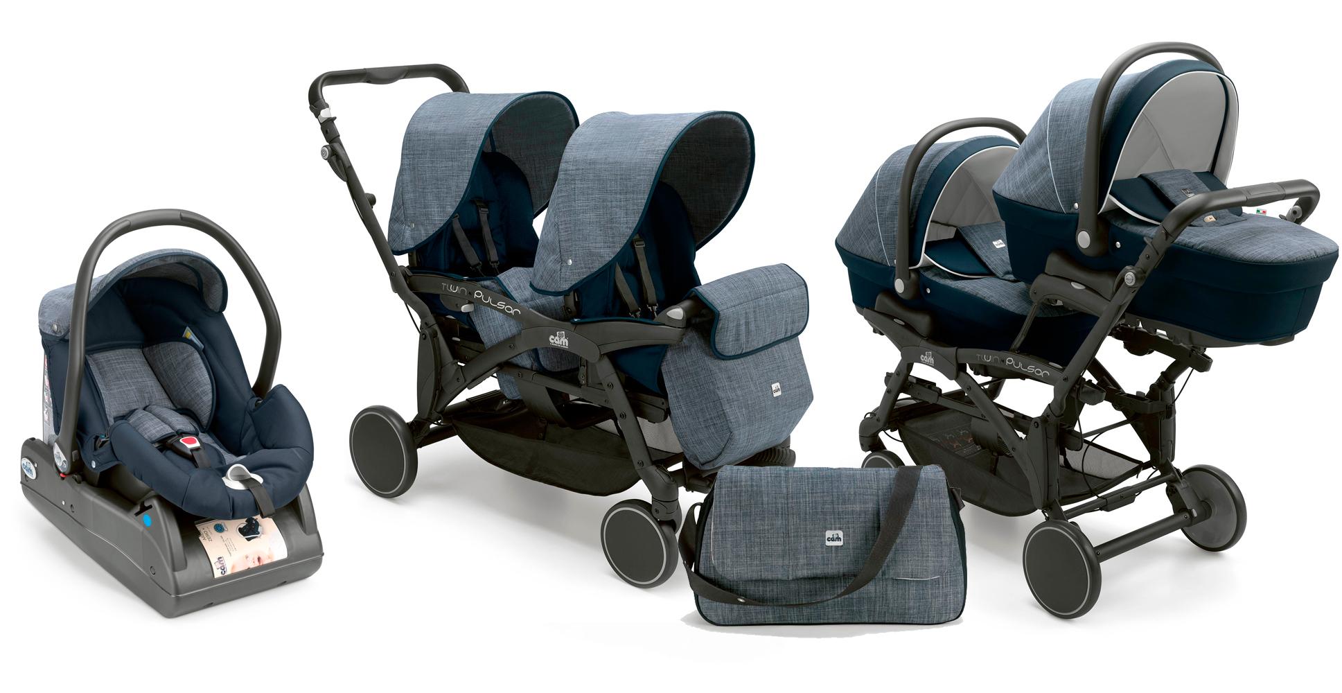 Детская коляска CAM Twin Pulsar 3 в 1 для двойни