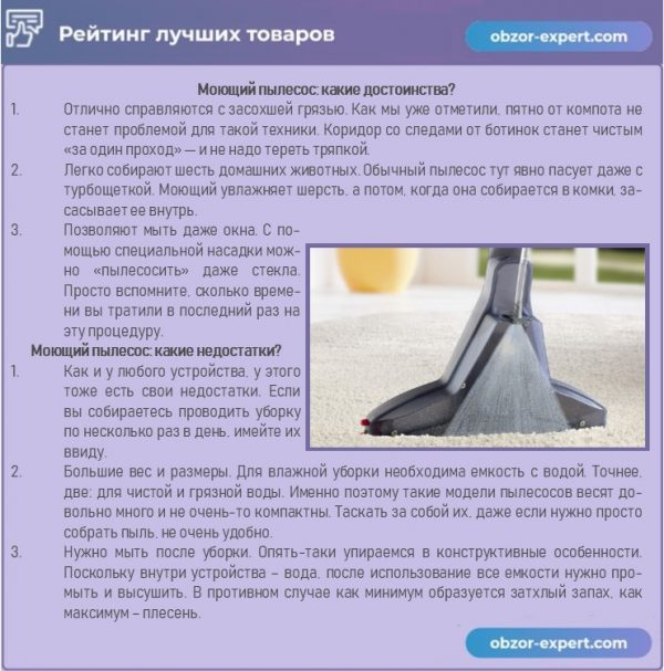 Плюсы и минусы моющего пылесосоа
