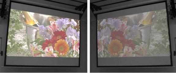 В настройках проектора можно выбирать яркость и режим изображения