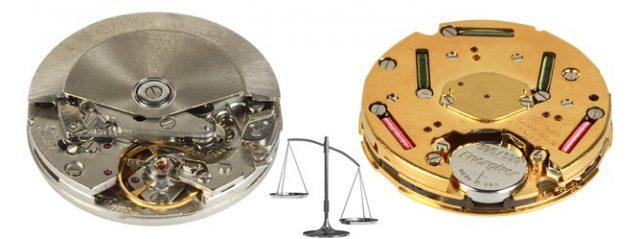 Часы бывают кварцевыми и механическими