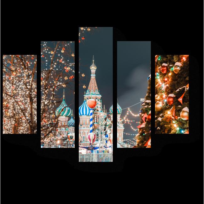 """Модульная картина """"Новогодняя Москва"""""""