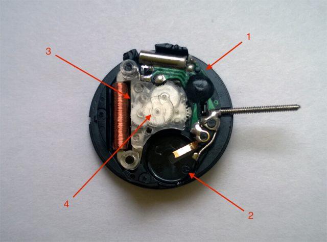 Устройство простейших кварцевых часов. 1 - Электронный блок с контроллером и кварцевым резонатором. 2 - Элемент питания (на фото отсутствует). 3 - Шаговый электродвигатель (катушка статор и ротор с постоянным магнитом). 4 - Шестереночный привод стрелок