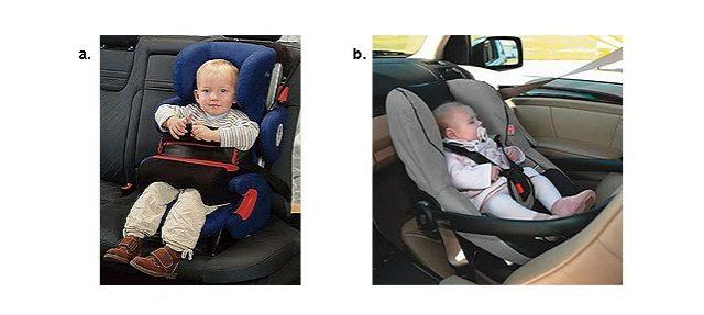 Для установки кресел со столиками безопасности (рис. а) или тех, которые устанавливаются спиной по ходу движения (рис. б) необходимы длинные автомобильные ремни, порядка 2.2 — 2.4 метра
