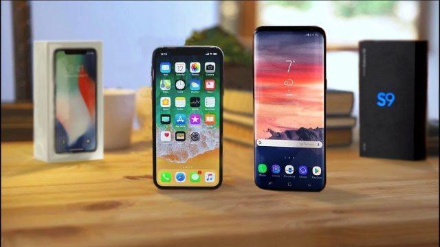 Сравнение размеров iPHONE Х и SAMSUNG S9