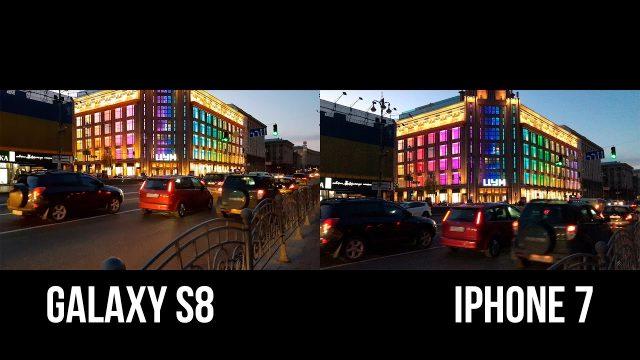 Сравнение снимков снятых на Galaxy S8 и iPhone 7
