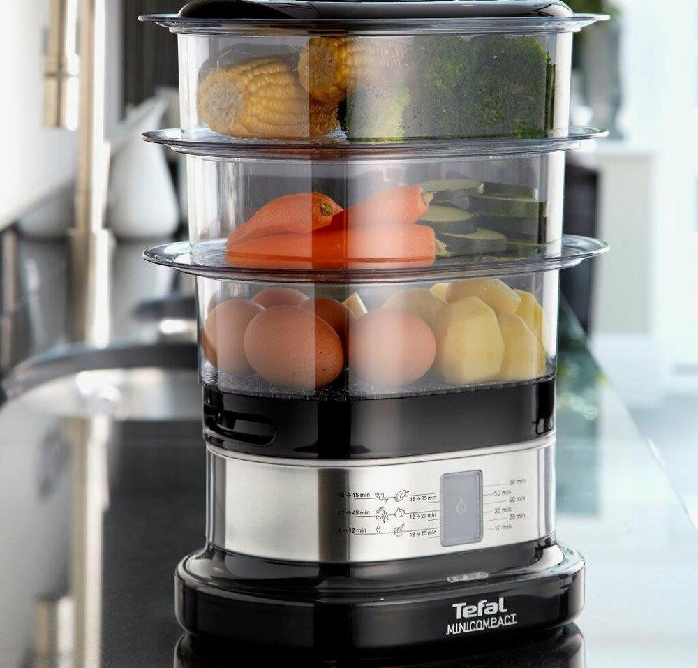 Если у пароварки две-три паровые корзины, вы сможете готовить большее количество блюд одновременно