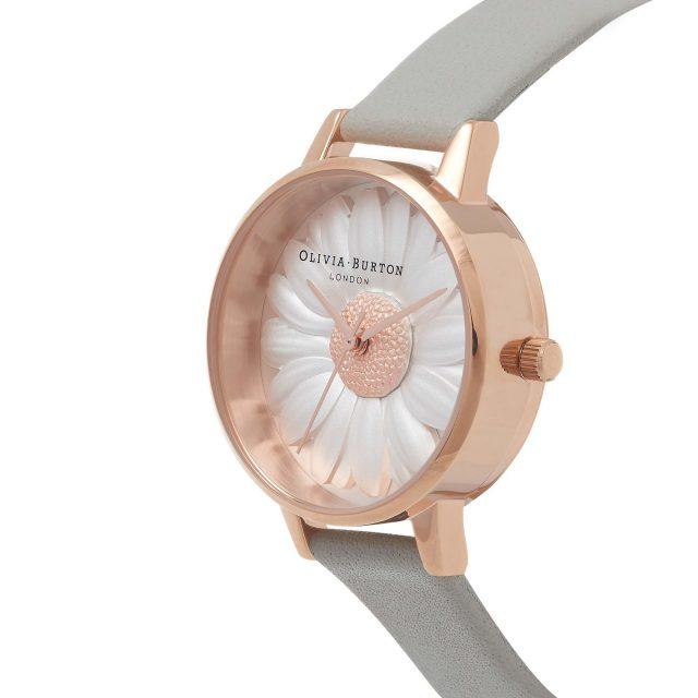 Olivia Burton 3D Daisy Dial Grey Leather Strap Watch