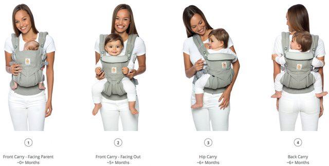 Варианты ношения ребенка в эргорюкзаке