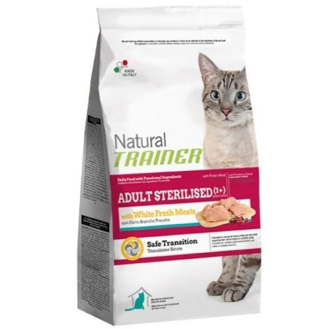 TRAINER Natural Adult cat Sterilised White Fresh Meats dry